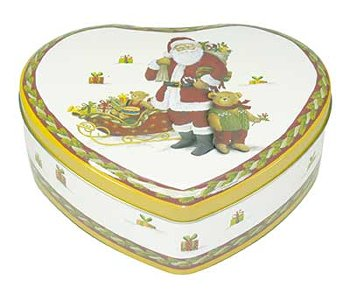 HEART TIN SANTA AND TEDDY