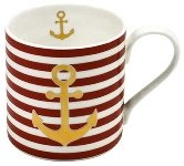 MUG ANCHOR GOLD/ RED STRIPES