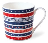 MUG CHRISTMAS RIBBON/ RED-BLUE