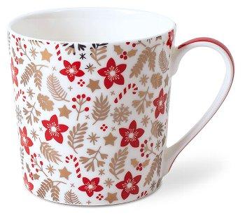 MUG RED-GOLD/ FLOWERS WHITE