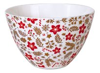 BOWL RED-GOLD/ FLOWERS WHITE